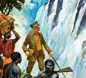 David Livingstone 'discovers' Victoria Falls. Credit: James E McConnell, via obnoxious watermark from lookandlearn.com